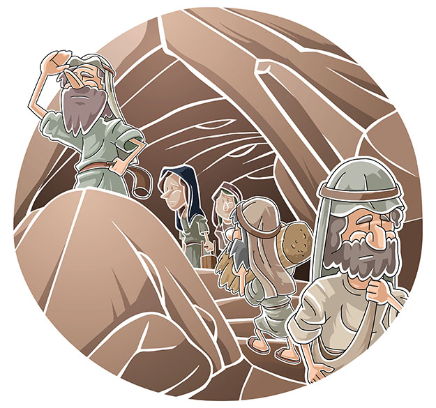 Israelites hiding in caves