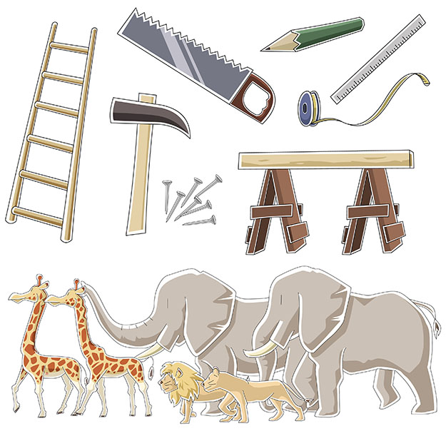 Tools and animals of Noah's ark